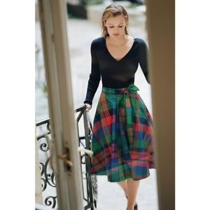 Anthropologie Bright plaid flowy skirt with bow!